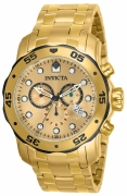 Invicta Men's 80070 Pro Diver Quartz 3 Hand Gold Dial Watch