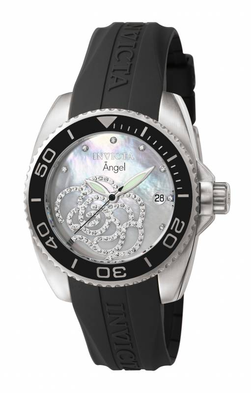 Invicta Women's 0487 Angel Quartz 3 Hand Platinum Dial Watch