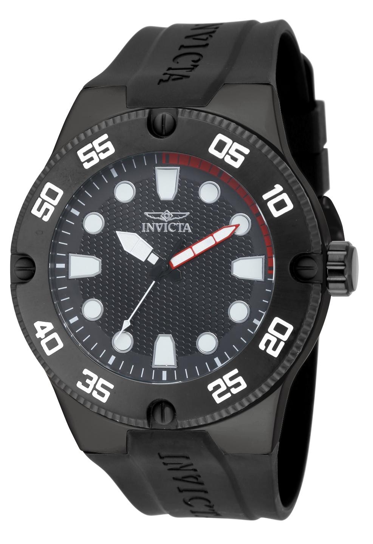 Invicta Men's 18026 Pro Diver Quartz 3 Hand Black Dial Watch