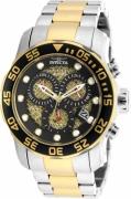 Invicta Men's 19839 Pro Diver Quartz 3 Hand Black, Gold Dial Watch