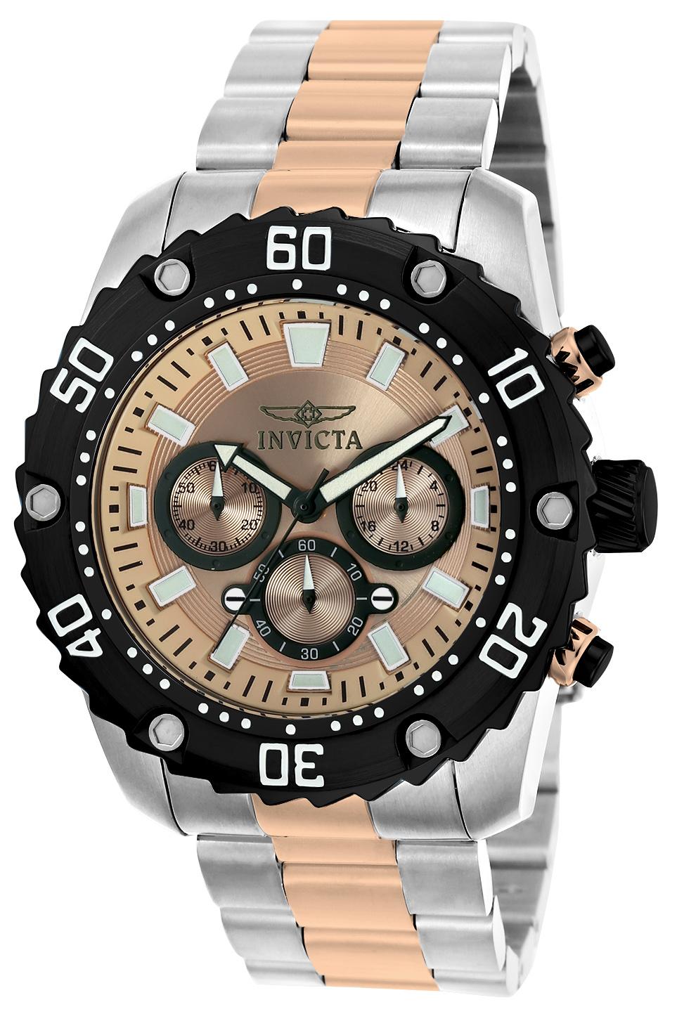 Invicta Men's 22520 Pro Diver Quartz Chronograph Rose Gold Dial Watch